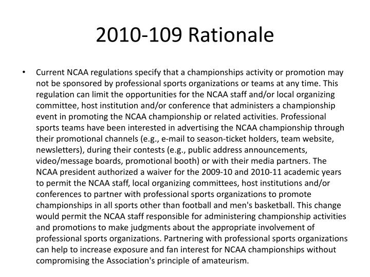 2010-109 Rationale