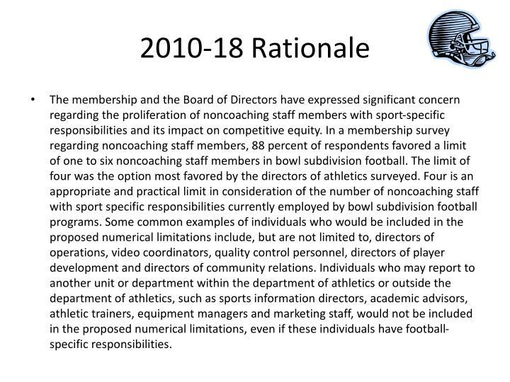2010-18 Rationale