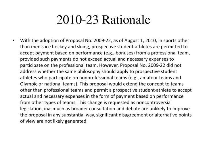 2010-23 Rationale