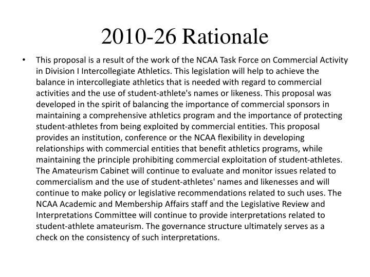 2010-26 Rationale