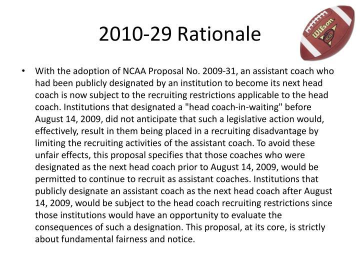 2010-29 Rationale