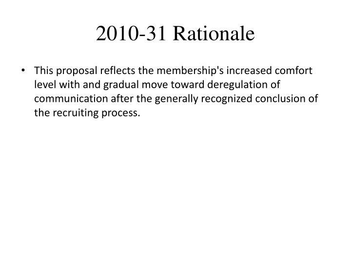 2010-31 Rationale