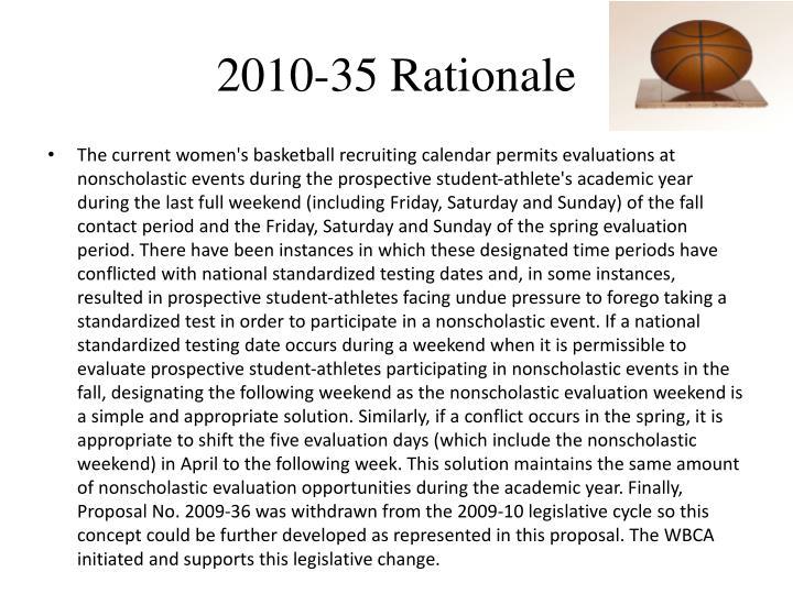 2010-35 Rationale