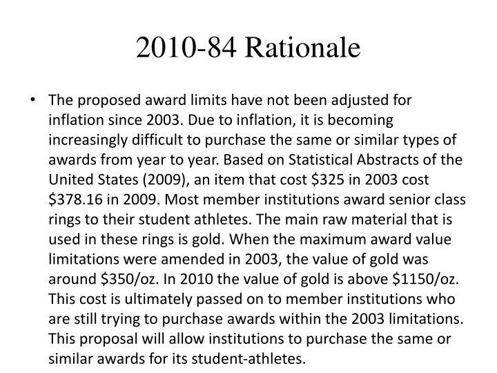 2010-84 Rationale