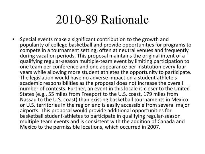 2010-89 Rationale