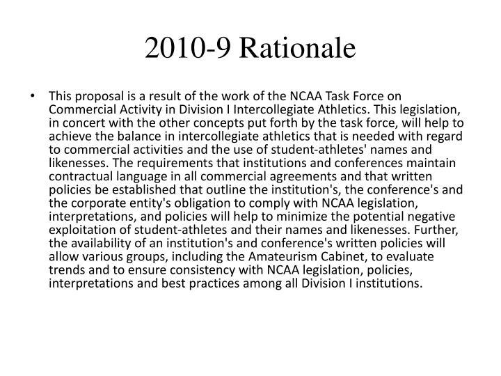 2010-9 Rationale