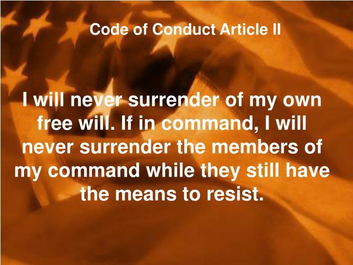 Code of Conduct Article II