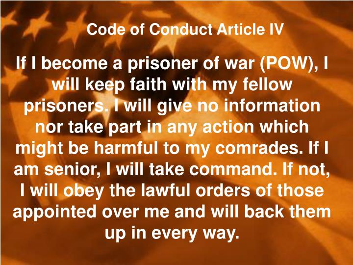 Code of Conduct Article IV