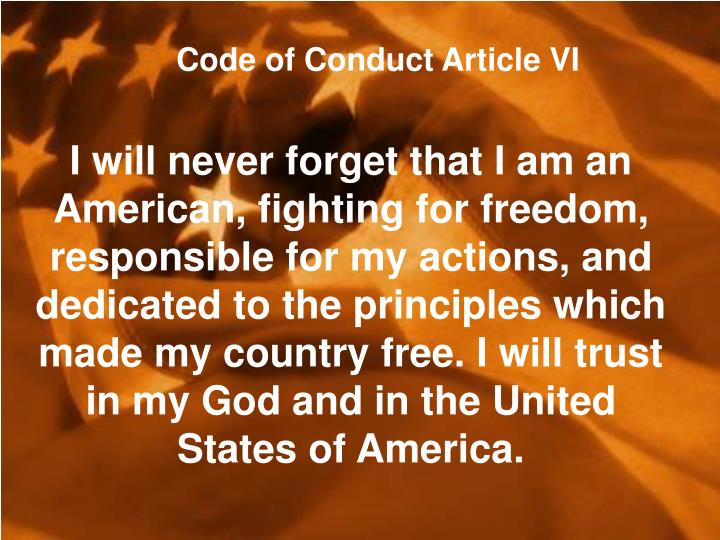 Code of Conduct Article VI