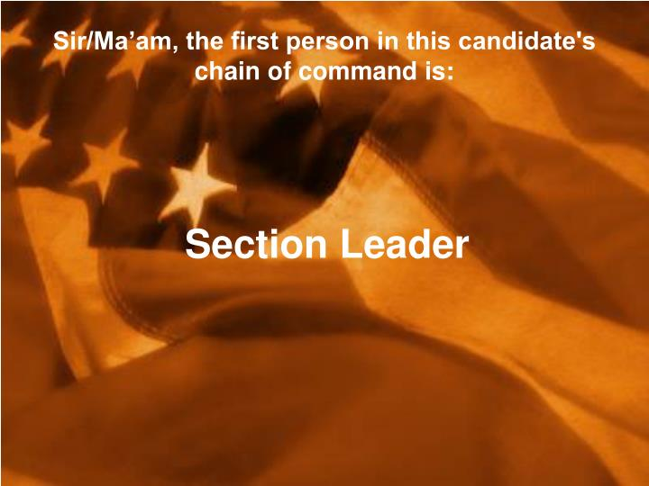 Sir/Ma'am, the first person in this candidate's chain of command is: