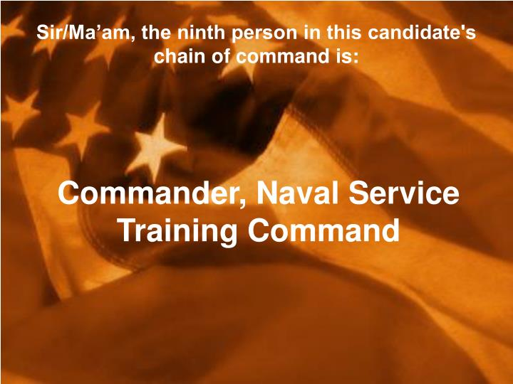 Sir/Ma'am, the ninth person in this candidate's chain of command is: