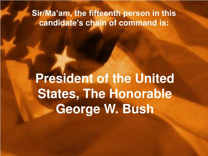 Sir/Ma'am, the fifteenth person in this candidate's chain of command is: