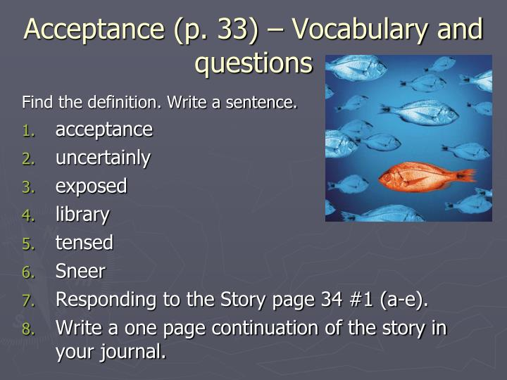 Acceptance (p. 33) – Vocabulary and questions