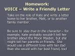 homework voice write a friendly letter