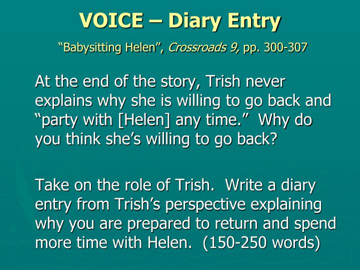 VOICE – Diary Entry