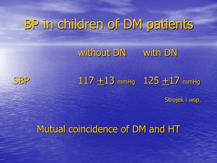BP in children of DM patients