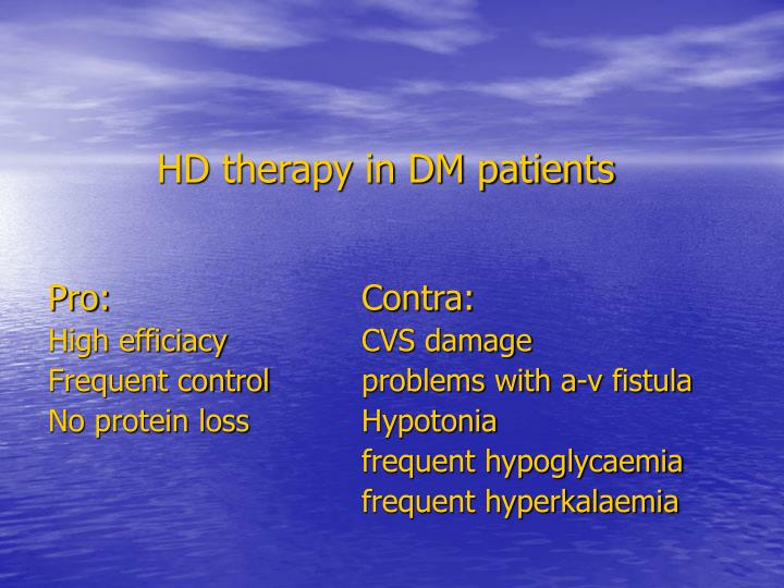 HD therapy in DM patients