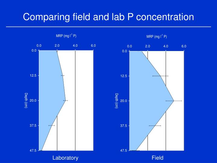 Comparing field and lab P concentration