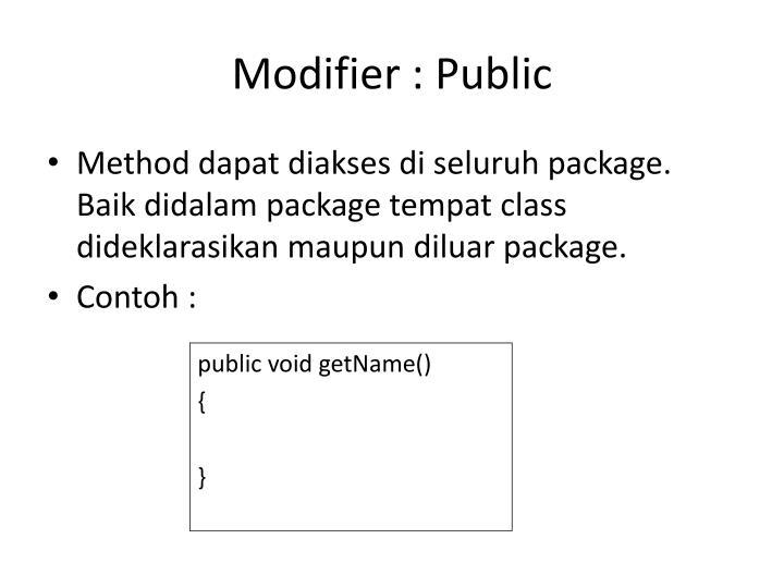 Modifier : Public