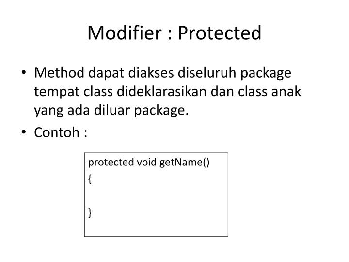Modifier : Protected