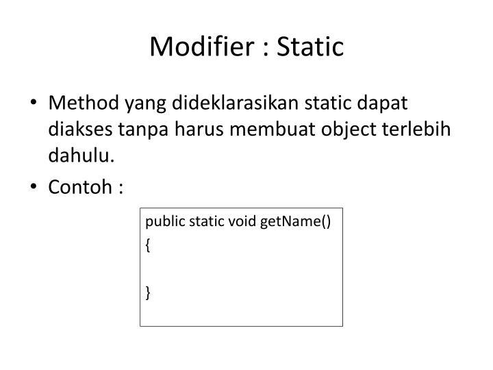 Modifier : Static