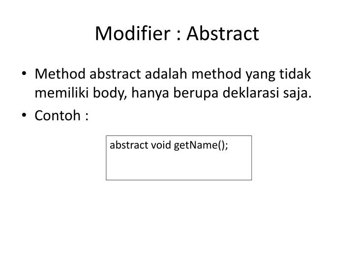 Modifier : Abstract