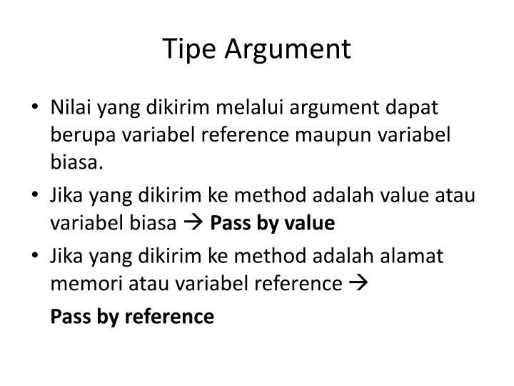 Tipe Argument