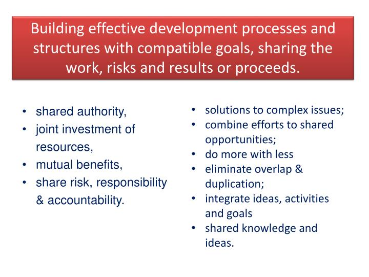 Building effective development processes and structures with compatible goals, sharing the work, risks and results or proceeds.