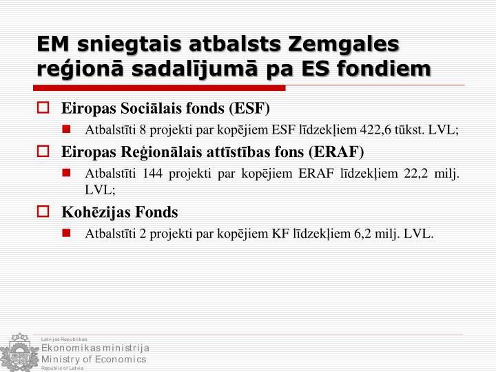 EM sniegtais atbalsts Zemgales reģionā sadalījumā pa ES fondiem