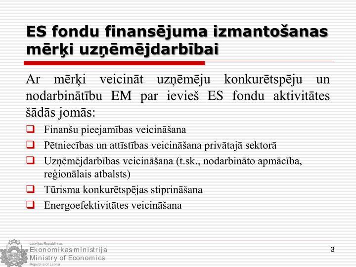 ES fondu finansējuma izmantošanas mērķi uzņēmējdarbībai