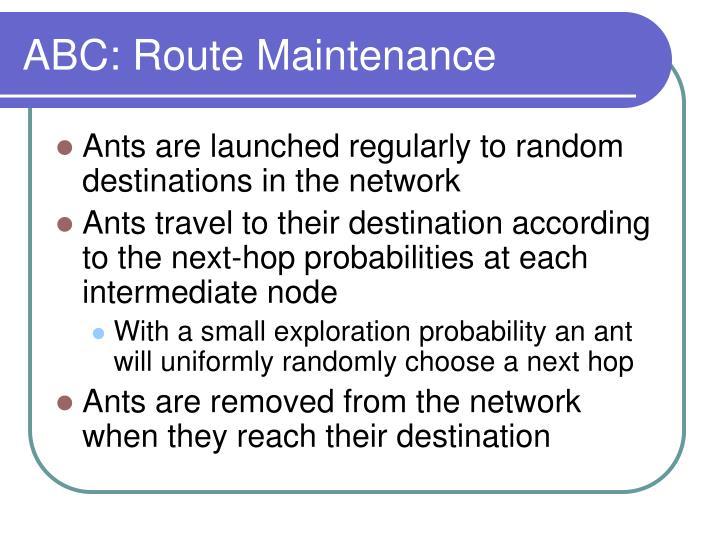 ABC: Route Maintenance