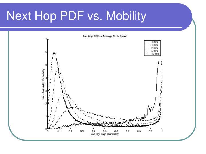 Next Hop PDF vs. Mobility