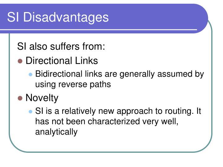 SI Disadvantages