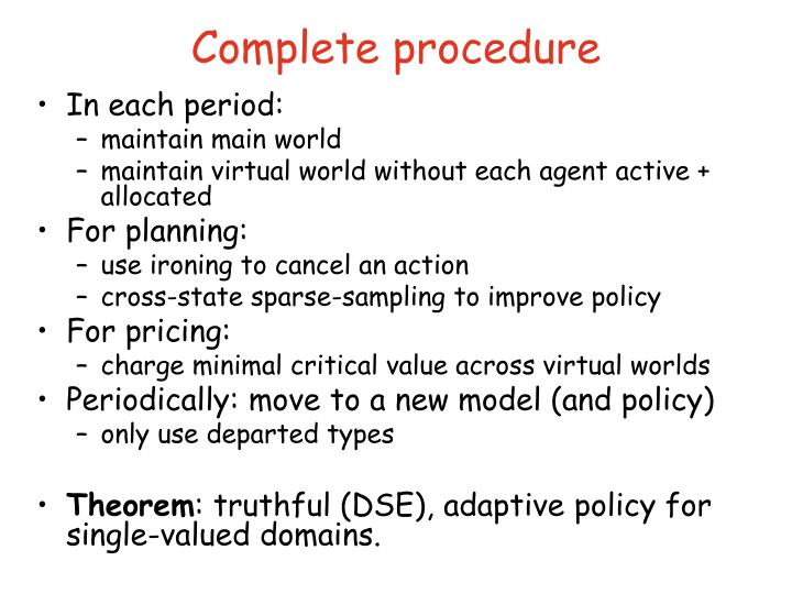 Complete procedure