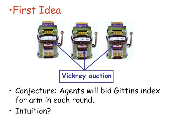 Conjecture: Agents will bid Gittins index for arm in each round.
