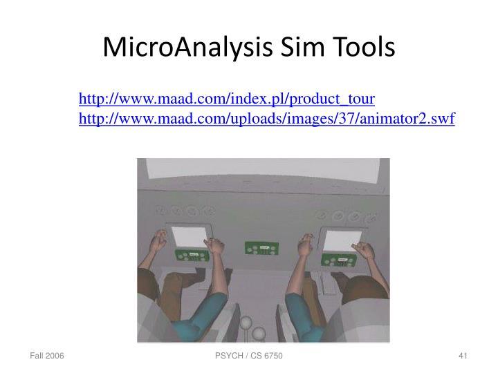 MicroAnalysis Sim Tools