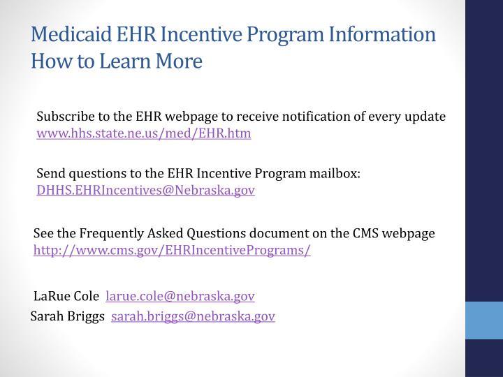Medicaid EHR Incentive Program Information
