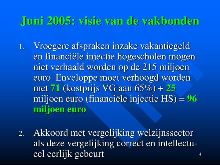 Juni 2005: visie van de vakbonden