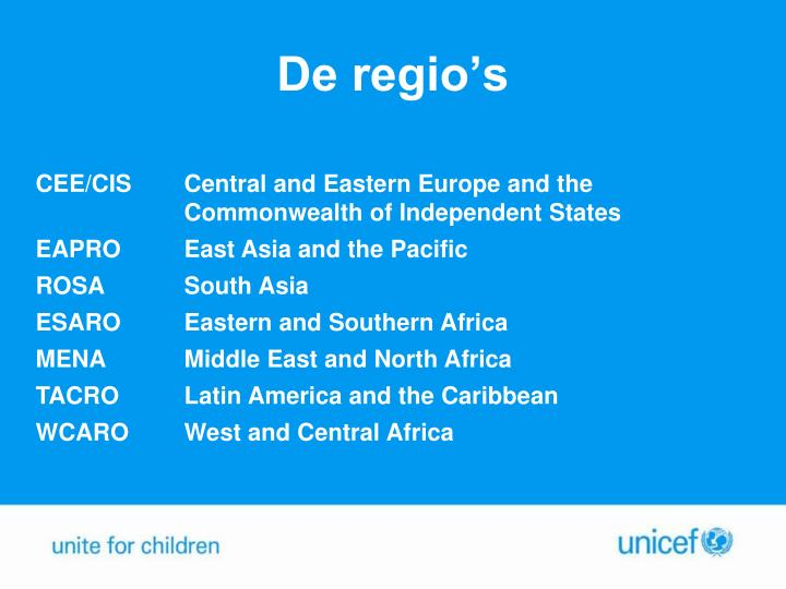 De regio's
