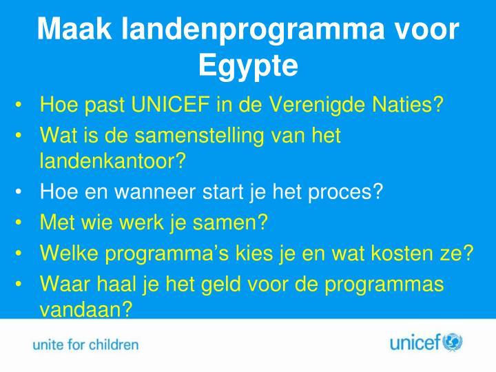 Maak landenprogramma voor Egypte