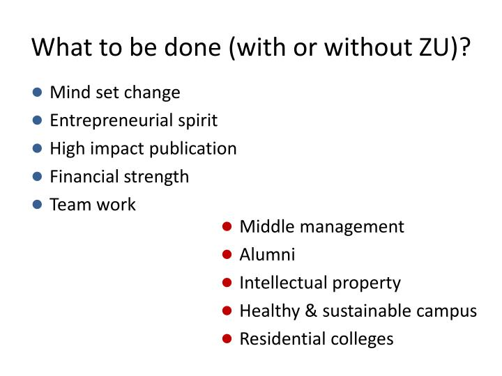 What to be done (with or without ZU)?