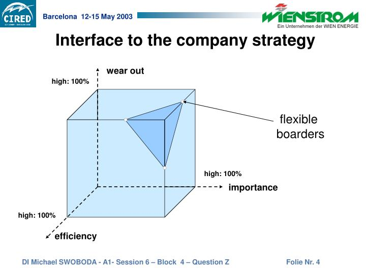 Interface to the company strategy
