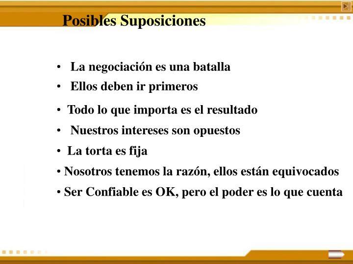 Posibles Suposiciones