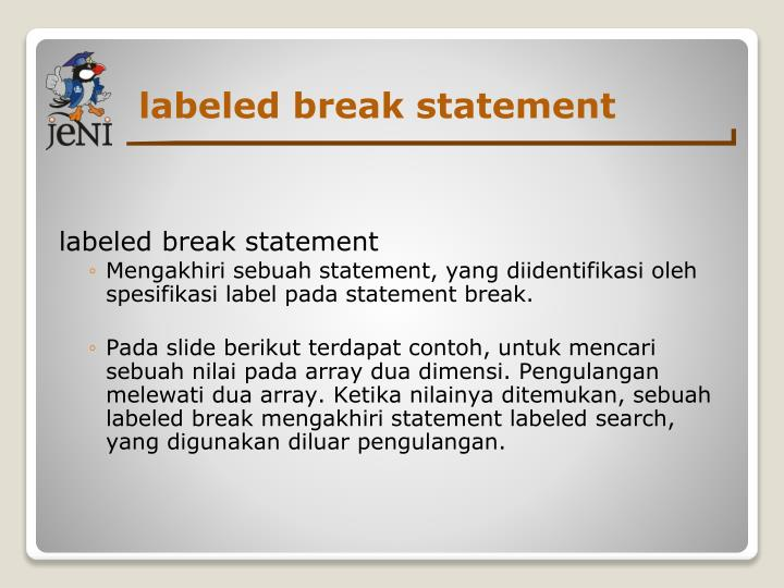 labeled break statement