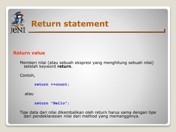 Return statement
