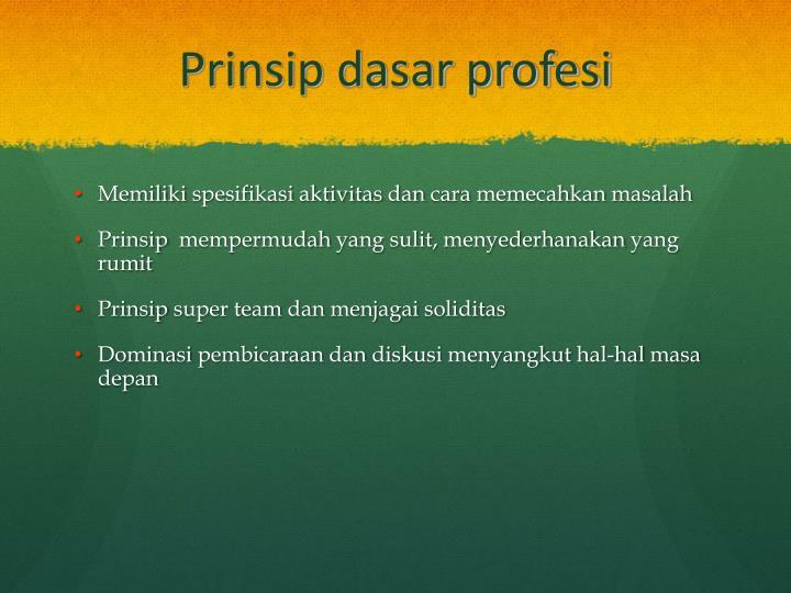 Prinsip dasar profesi