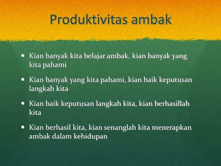 Produktivitas ambak