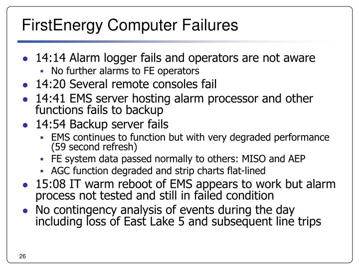 FirstEnergy Computer Failures