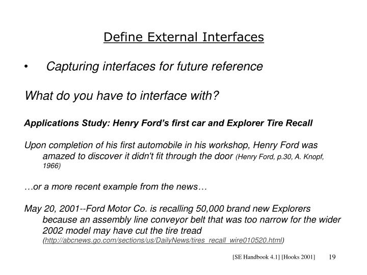 Define External Interfaces