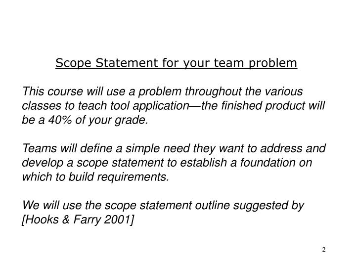 Scope Statement for your team problem